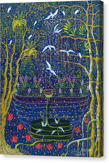 Canvas Print featuring the painting Yana Yacumama  by Pablo Amaringo