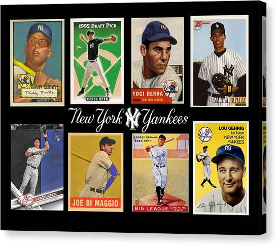 Joe Dimaggio Canvas Print - Yankee Cardboard Greats by Paul Van Scott