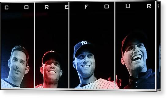 Derek Jeter Canvas Print - Yankee Core Four By Gbs by Anibal Diaz