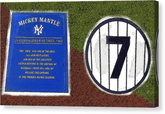 Mickey Mantle Canvas Print - Yankee Legends Number 7 by David Lee Thompson