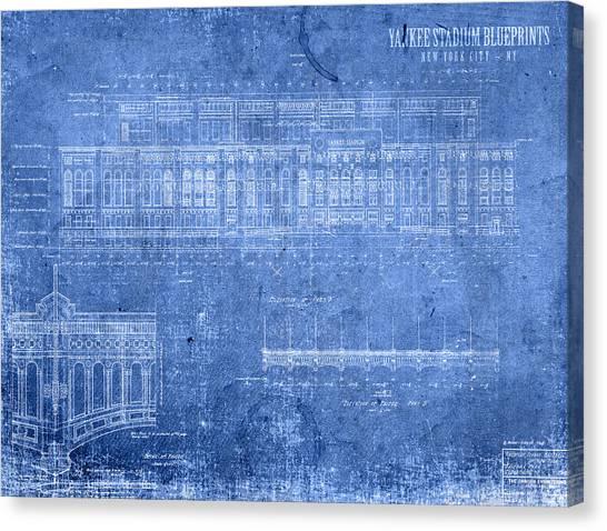 Yankee Stadium Canvas Print - Yankee Stadium New York City Blueprints by Design Turnpike