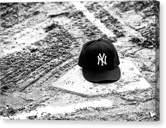 Baseball Canvas Print - Yankees Home by John Rizzuto