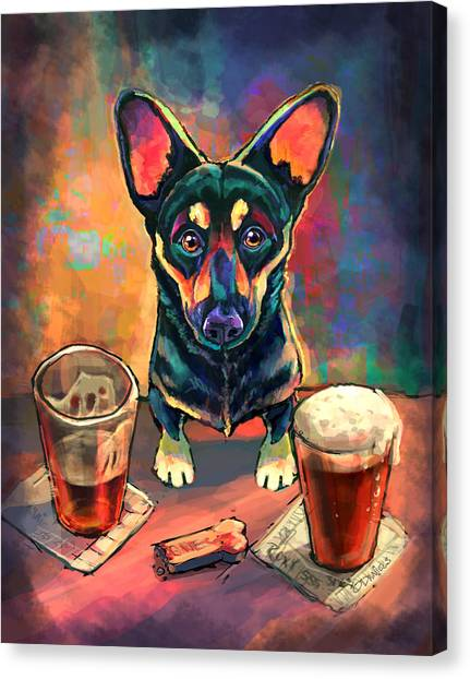 Alcohol Canvas Print - Yappy Hour by Sean ODaniels