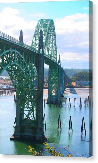 Yaquina Bay Bridge Br-9002 Canvas Print by Mary Gaines