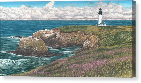 Crabbing Canvas Print - Yaquina Head Lighthouse by Andrew Palmer