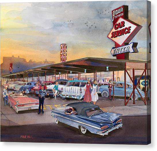 High School Canvas Print - Yaw's Top Notch Drive In by Mike Hill