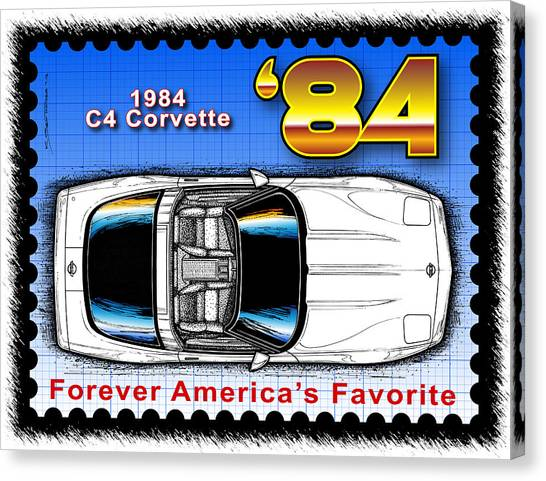 Year-by-year 1984 Corvette Postage Stamp Canvas Print