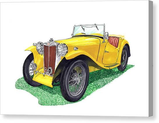 Turn Signals Canvas Print - Yellow 1949 M G T C Midget by Jack Pumphrey