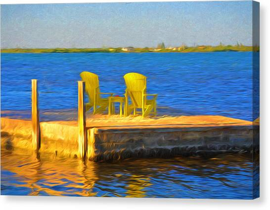 Atlantic 10 Canvas Print - Yellow Adirondack Chairs On Dock In Florida Keys by Ginger Wakem