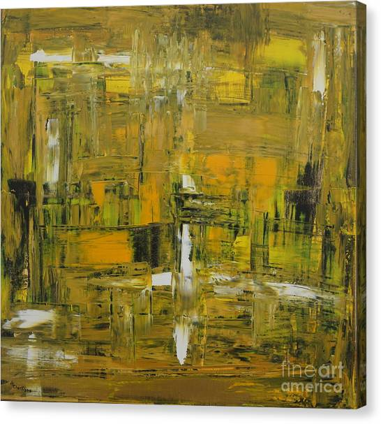 Yellow And Black Abstract Canvas Print