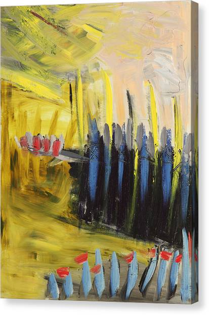 Yellow And Blue Abstract Canvas Print by Maggis Art