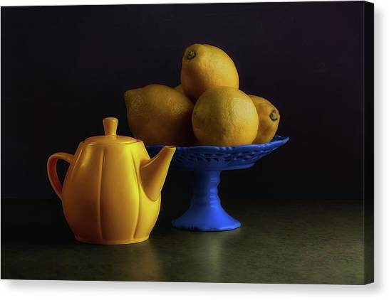 Citrus Canvas Print - Yellow And Blue Still Life by Tom Mc Nemar