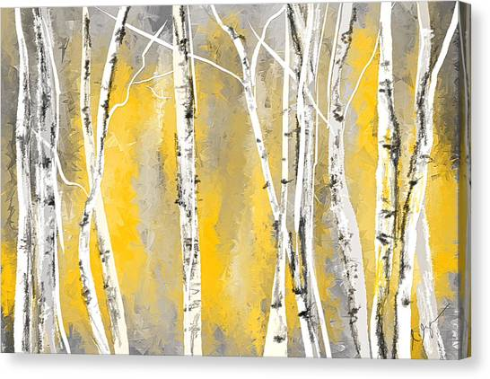 Yellow And Gray Birch Trees Canvas Print