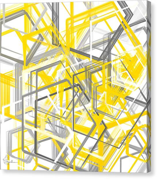 Geometric Canvas Print - Yellow And Gray Geometric Shapes Art by Lourry Legarde