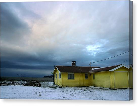 Yellow And Snow And Blue Canvas Print by Julius Reque