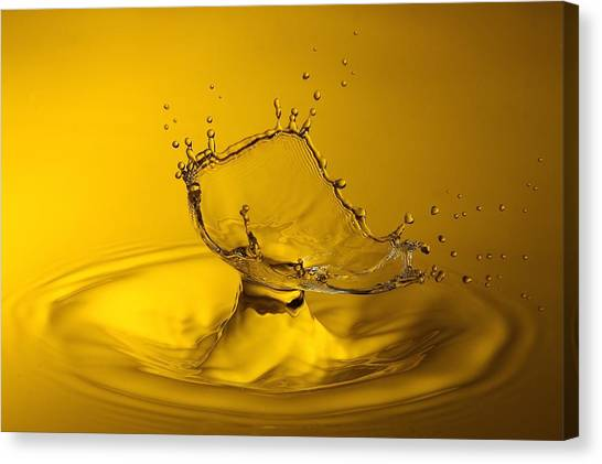 Water Drop Canvas Print - Yellow by Barr? Thierry
