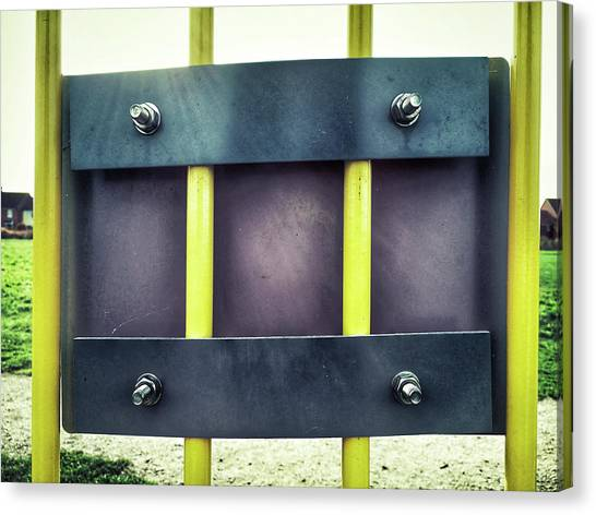 Placard Canvas Print - Yellow Bars Close Up  by Tom Gowanlock