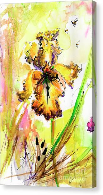 Yellow Bearded Iris And Bees Canvas Print