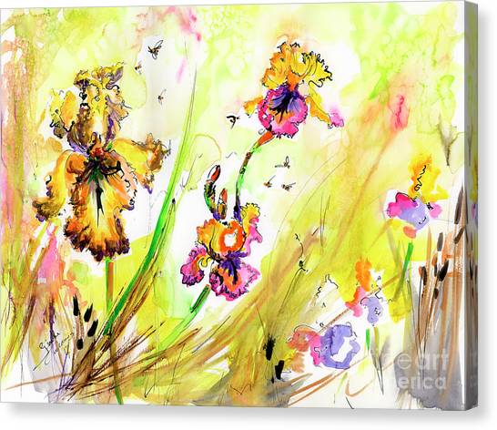 Yellow Bearded Irises And Bees Watercolor Print Canvas Print