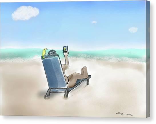 Yellow Bird Beach Selfie Canvas Print