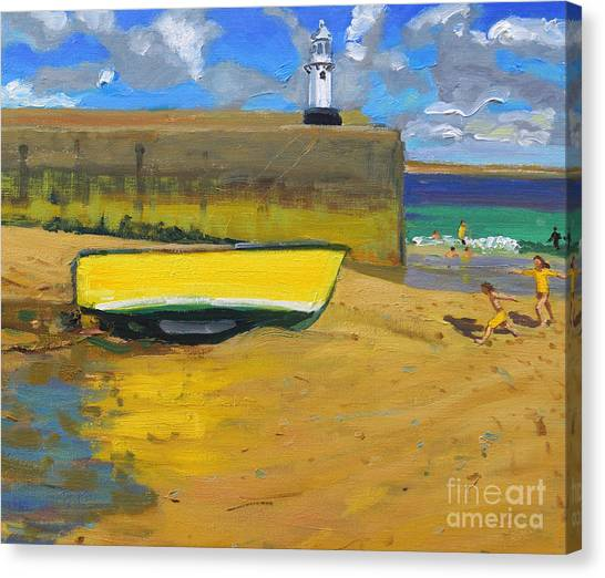 St Ives Canvas Print - Yellow Boat, St Ives  by Andrew Macara