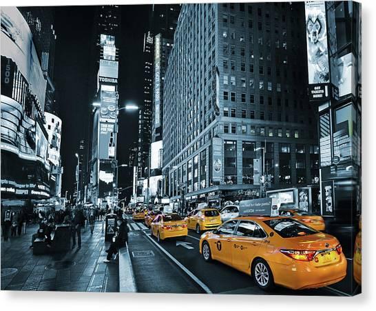 Yellow Broadway At Night - Nyc Canvas Print