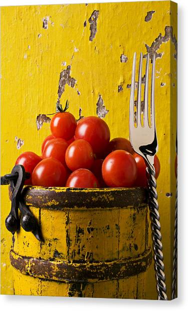 Cherry Tomato Canvas Print - Yellow Bucket With Tomatoes by Garry Gay