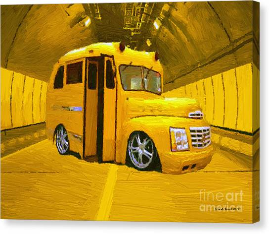 Yellow Bus Canvas Print