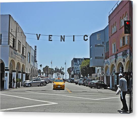 Venice Beach Canvas Print - Yellow Cab by Alice Gasparotto