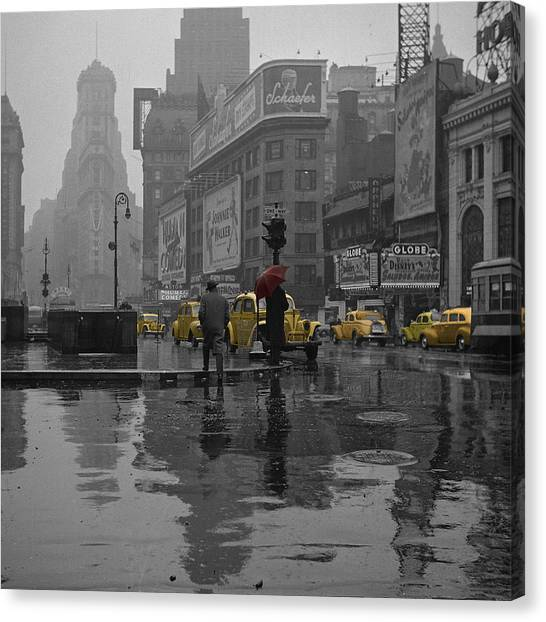 Buildings Canvas Print - Yellow Cabs New York by Andrew Fare