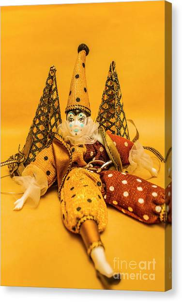 Doll Canvas Print - Yellow Carnival Clown Doll by Jorgo Photography - Wall Art Gallery