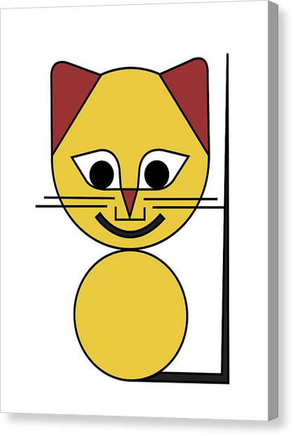 Cat Canvas Print - Yellow Cat by Asbjorn Lonvig