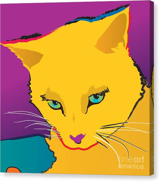 Yellow Cat Square Canvas Print