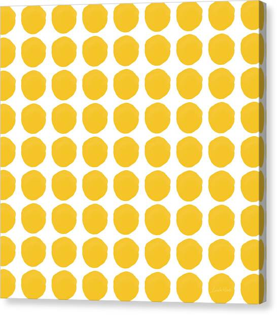 Mustard Canvas Print - Yellow Circles- Art By Linda Woods by Linda Woods