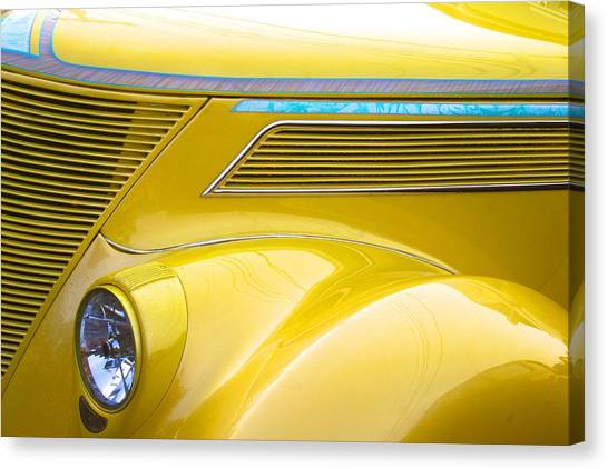 Yellow Classic Car Contours Canvas Print