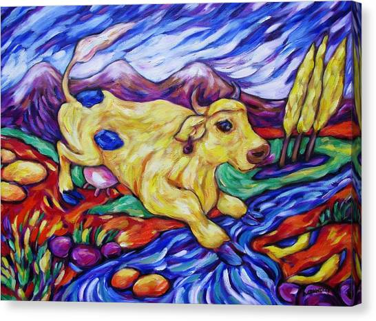 Yellow Cow Jumps The Creek Canvas Print by Dianne  Connolly