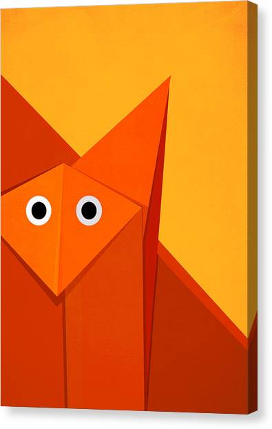 Yellow Cute Origami Fox Canvas Print