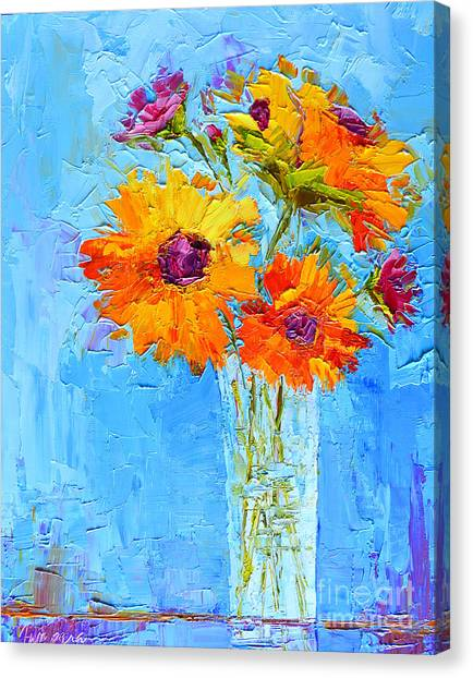 Yellow Daisies Flowers - Peonies In A Vase - Modern Impressionist Knife Palette Oil Painting Canvas Print