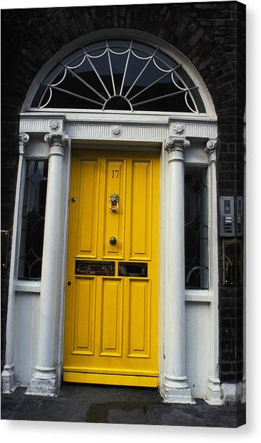 Yellow Door In Dublin Canvas Print by Carl Purcell