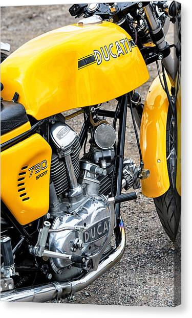 Ducati Canvas Print - Yellow Ducati by Tim Gainey