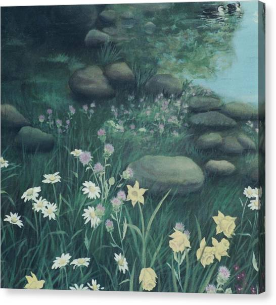 Yellow Flowers In Bed Of Rocks Canvas Print