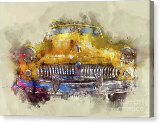 Mercury Canvas Print - Yellow Ford Mercury by Delphimages Photo Creations