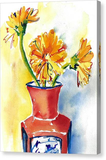 Yellow Gerbera Daisies In A Red And Blue Delft Vase Canvas Print
