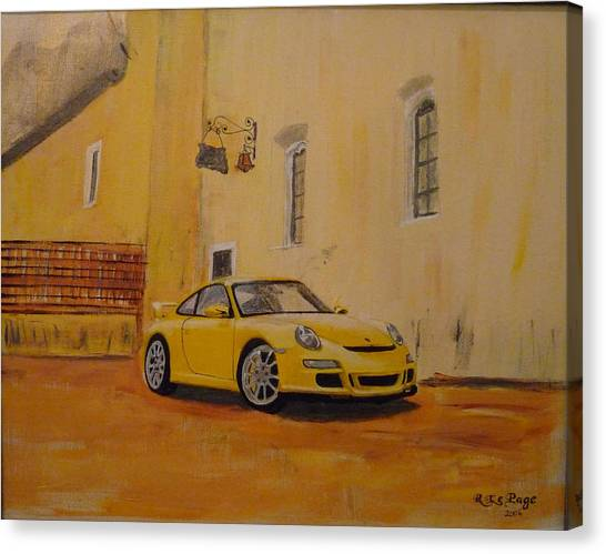 Yellow Gt3 Porsche Canvas Print