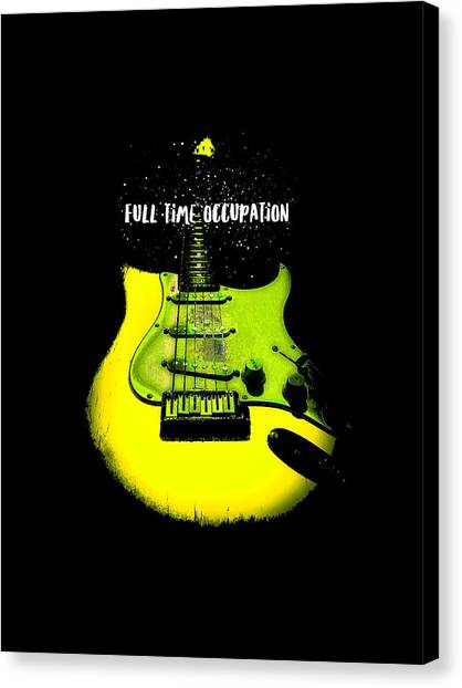 Yellow Guitar Full Time Occupation Canvas Print