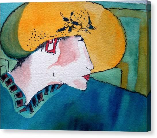 Yellow Hat Canvas Print by Jane Ferguson