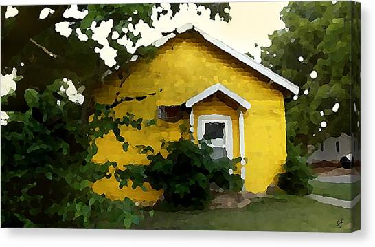 Canvas Print featuring the digital art Yellow House In Shantytown  by Shelli Fitzpatrick