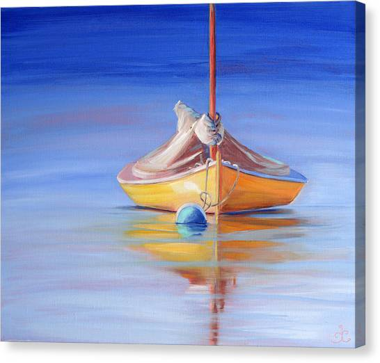 Yellow Hull Sailboat Iv Canvas Print