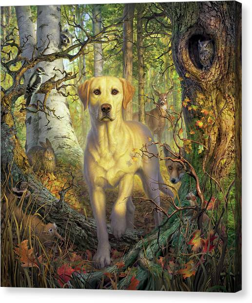 Squirrels Canvas Print - Yellow Lab In Fall by Mark Fredrickson
