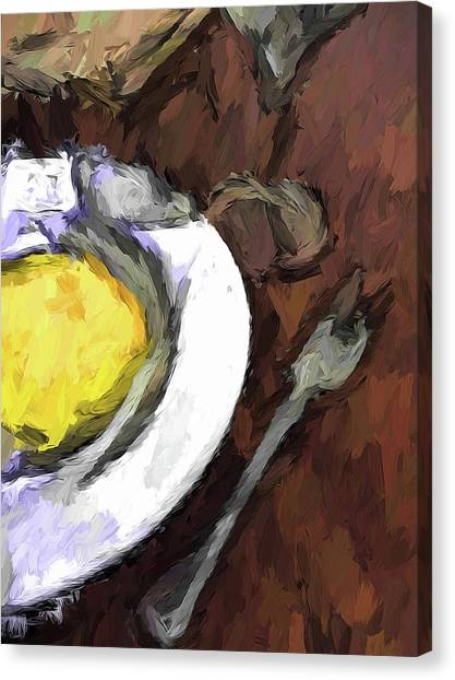 Yellow Lemon In A White Bowl With A Fork And A Wine Glass Canvas Print